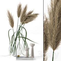 Grass in round vase                                      3D Model