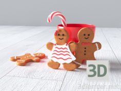 3D-Model  New year (cookies boy and girl, mug, candy)
