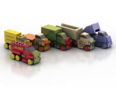 Wooden toys trucks cars 3D Collection
