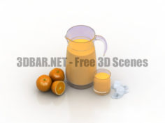 Decanter and oranges Decor set 3D Collection