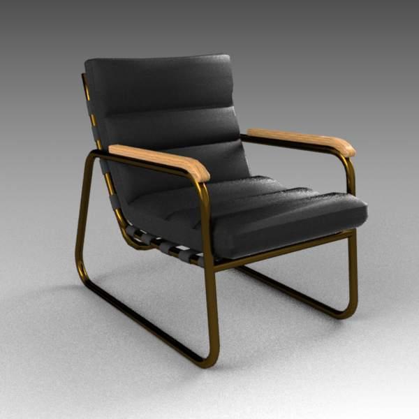 Noir cowhide chair 3D Model