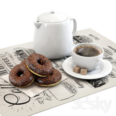 Coffee shop | Donuts set 01                                      3D Model
