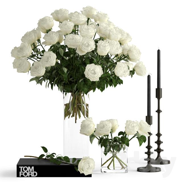White roses                                      3D Model