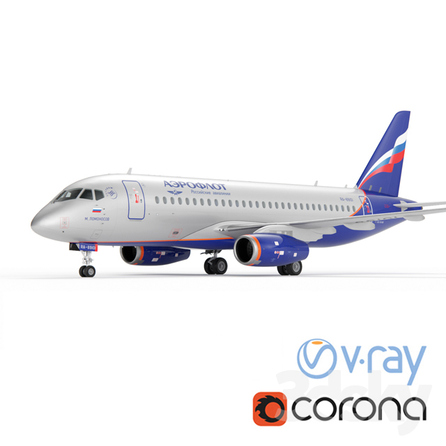 Aircraft SSJ-100 Aeroflot                                      3D Model