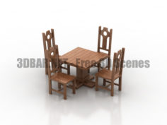 Country pub wood table & chairs set 3D Collection