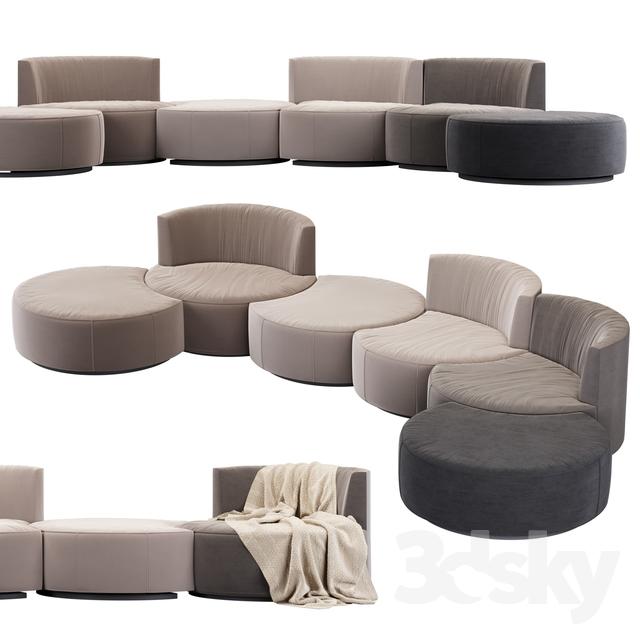 Modular sofa Mussi Italy Sedutalonga                                      3D Model
