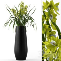 Cymbidium in floor vase                                      3D Model