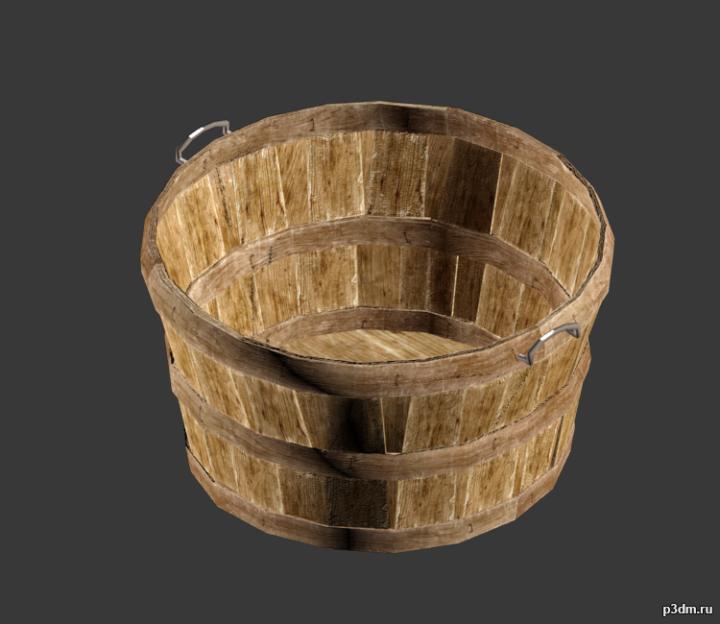 Wood Basket 3D Model