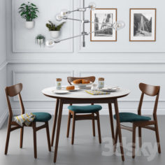 Dining set001 – West Elm                                      3D Model