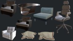Office furniture props 3D Model
