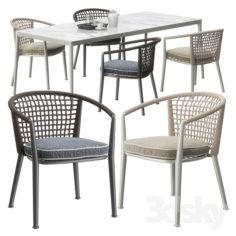 B & B Italia Outdoor ERICA '19 chairs set                                      3D Model