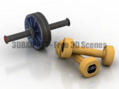 Dumbbells gym accessories 3D Collection