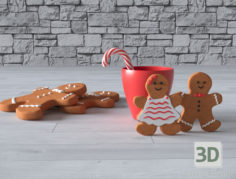 3D-Model  Gingerbread composition