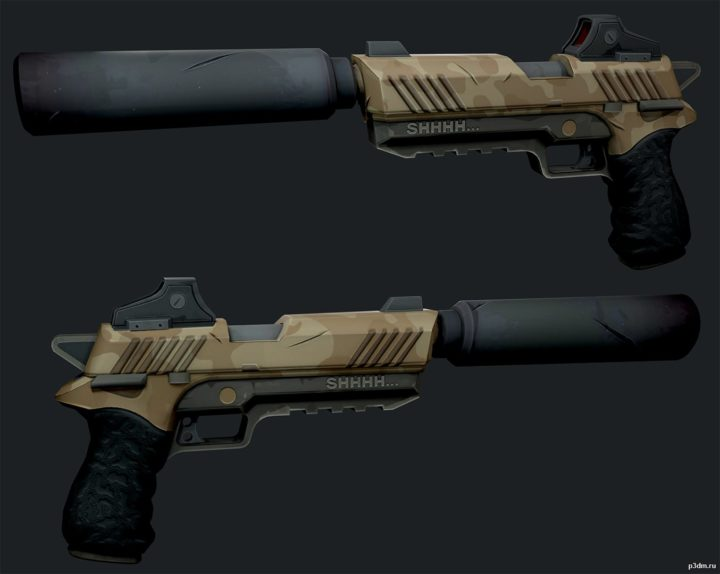 Suppressed Pistol 3D Model