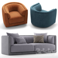 Sofa and chair fendi casa conrad                                      3D Model