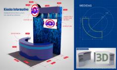 3D-Model  Promotional Information Kiosk Stand