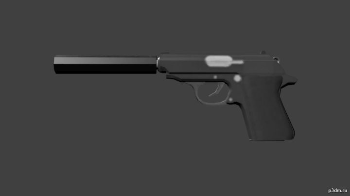 Walther PPK suppressor 3D Model