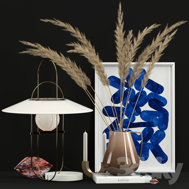 Decor with Fontana Arte Setareh lamp                                      3D Model