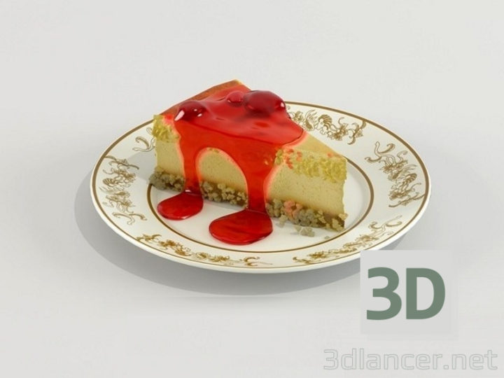 3D-Model  Cheesecake with Red Jelly