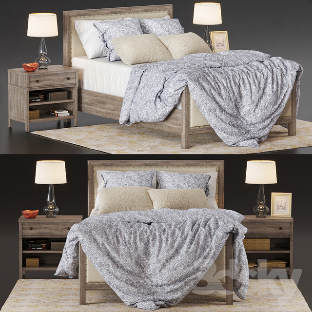 Bed Potterybarn Toulouse wood                                      3D Model