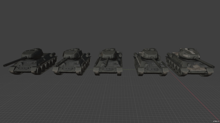 T-34 set pack 3D Model