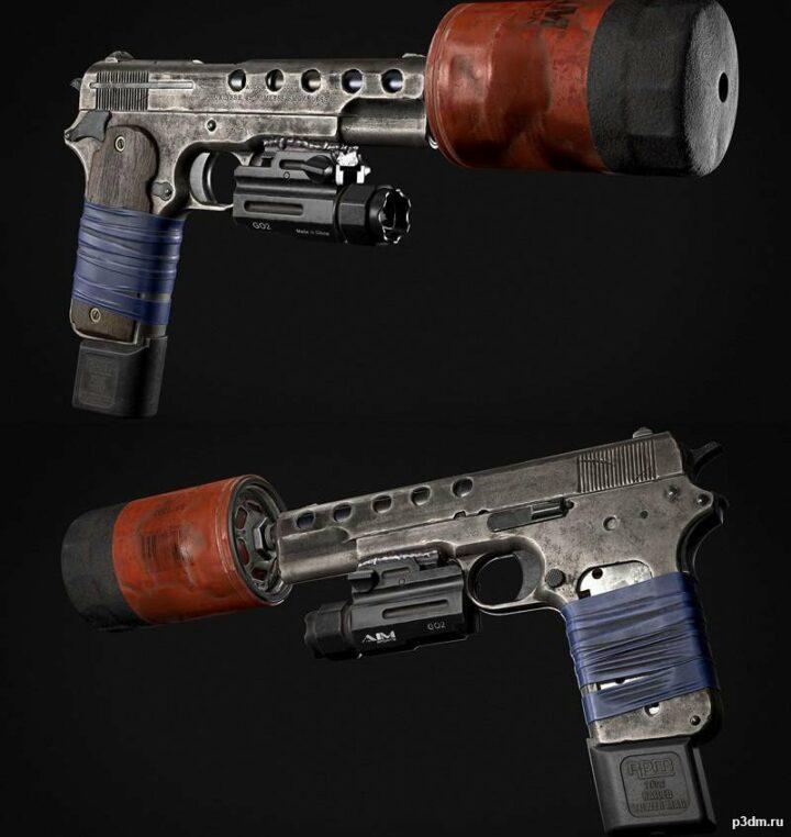 Suppressed 1909 Colt 3D Model